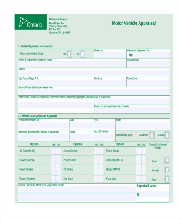 vechile appraisal form pdf
