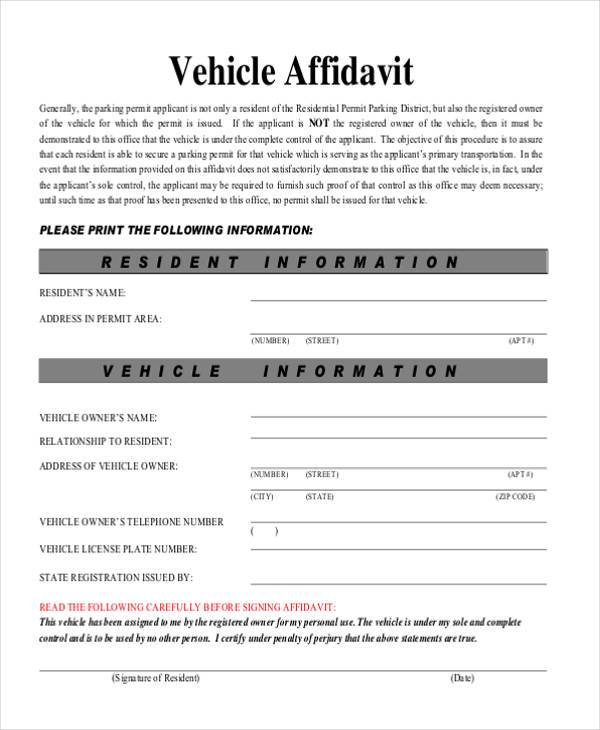 Sample Vehicle Affidavit Forms - 7+ Free Documents in PDF