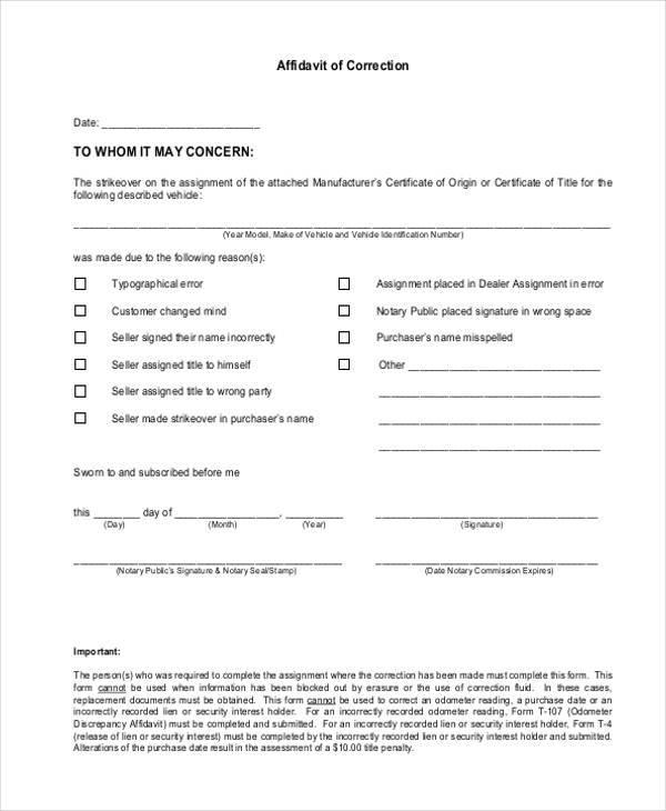 vehicle affidavit of correction form