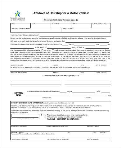 vehicle affidavit of heirship form