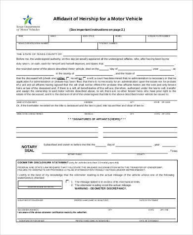 vehicle affidavit of heirship form1