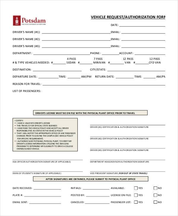 vehicle authorization form in pdf