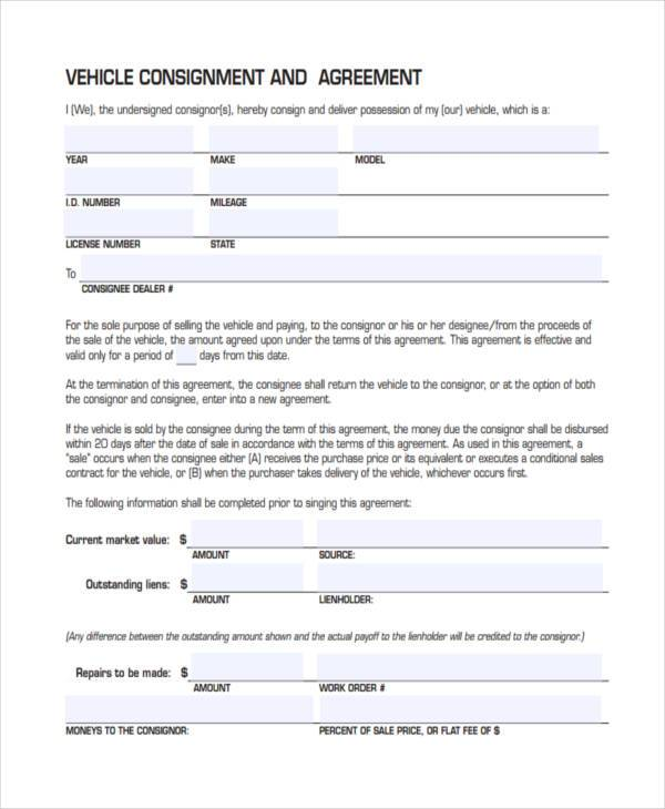 vehicle consignment agreement form example
