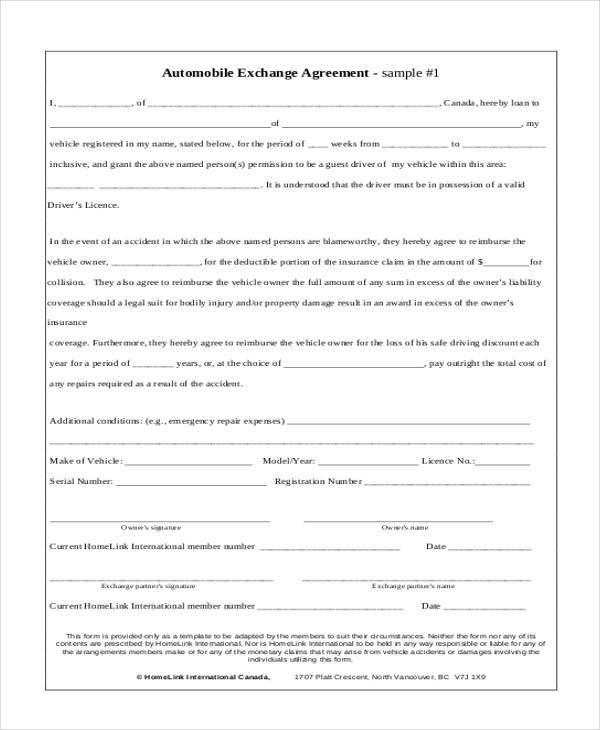vehicle exchange agreement form