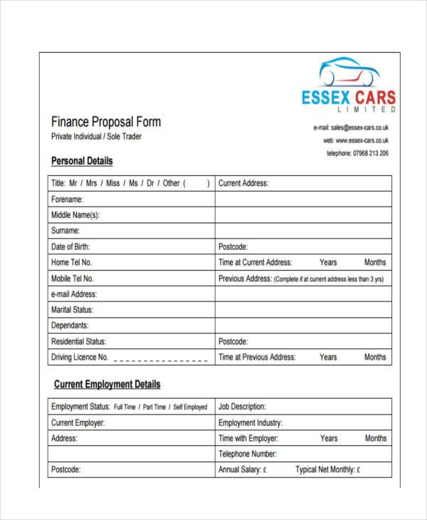 vehicle finance proposal form in pdf