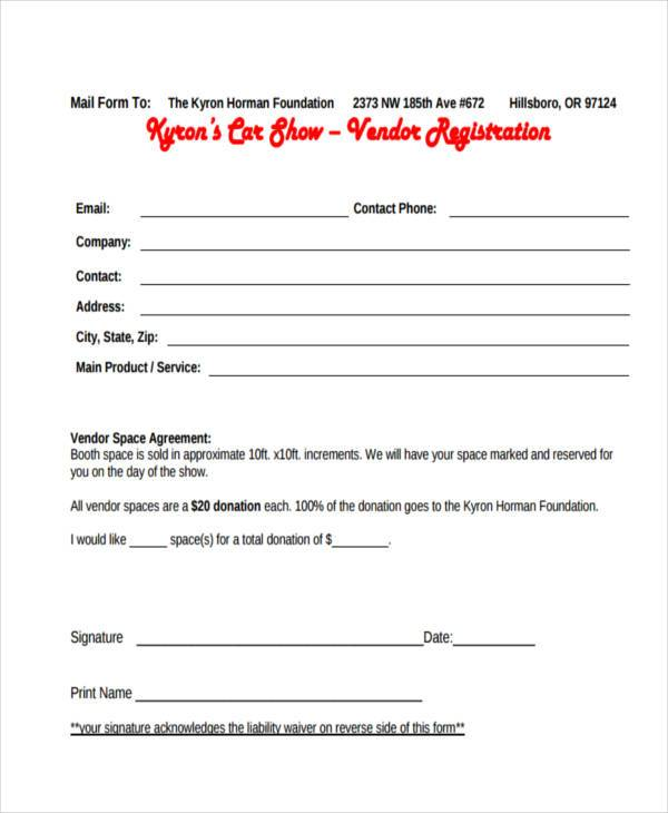 vendor car show registration form