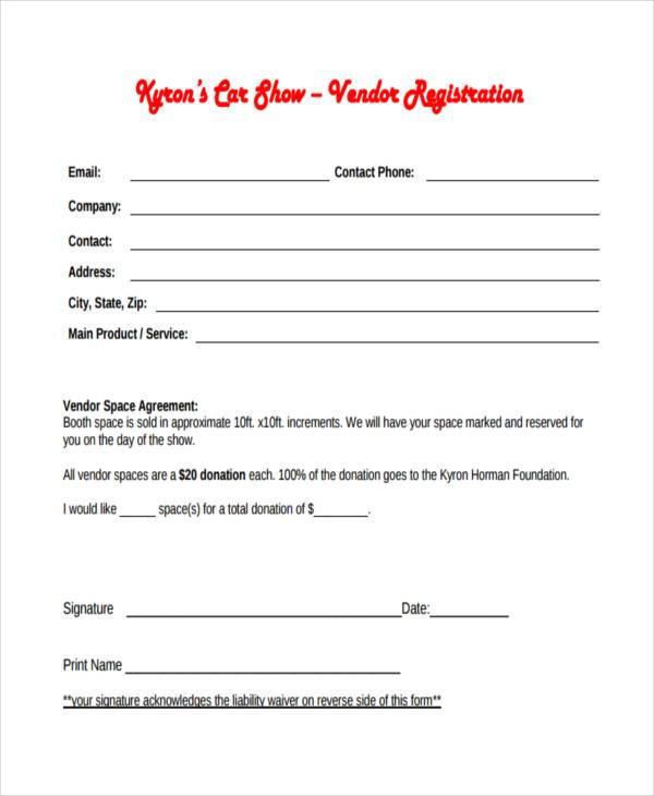 Sample Car Show Registration Forms 7 Free Documents in Word PDF – Vendor Form Template