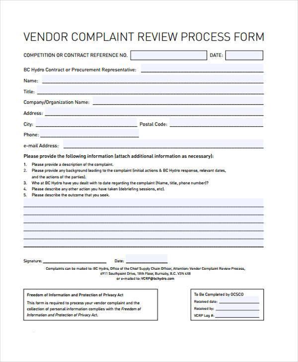 vendor complaint review process form