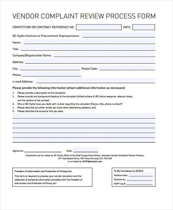 vendor complaint review process form1