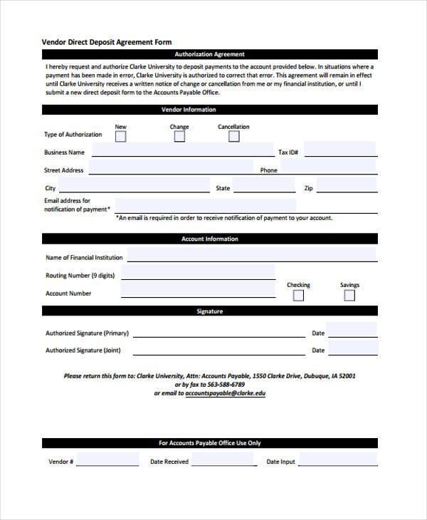 vendor deposit agreement form