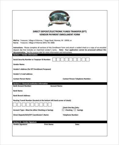 vendor direct deposit enrollment form