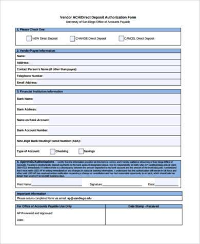 Vendor Direct Deposit Authorization Form Example