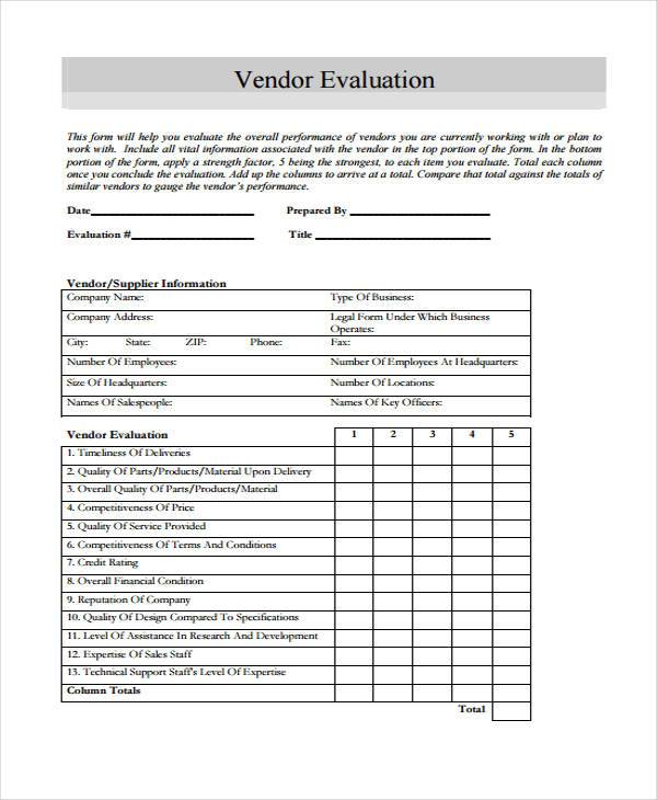 vendor evaluation form example