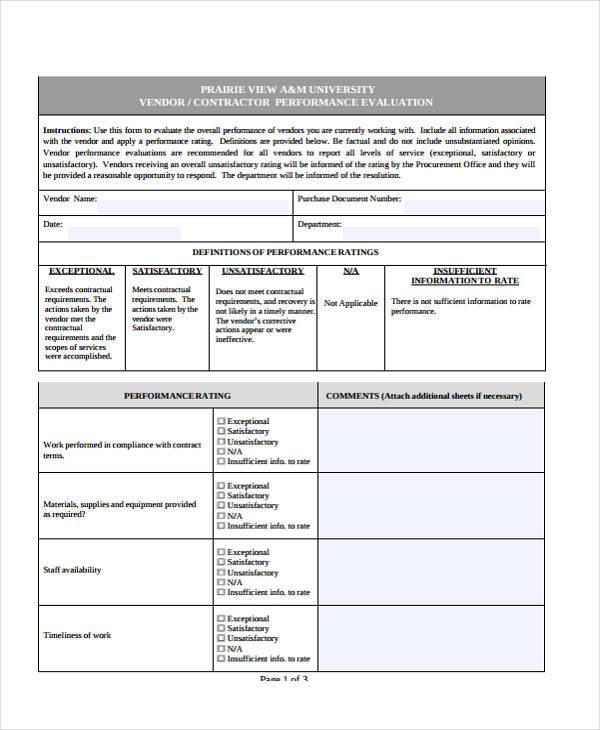 Sample Vendor Evaluation Forms - 9+ Free Documents In Word, Pdf