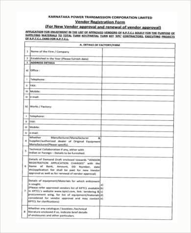 vendor registration form example