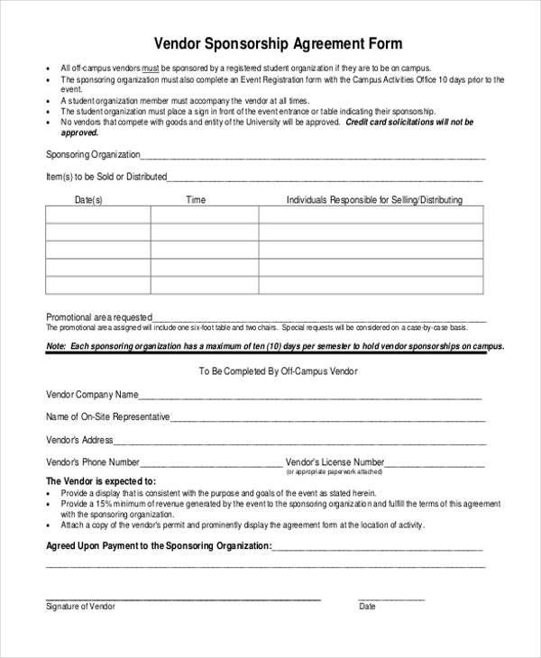 Doc460595 Sponsorship Agreement Form Sponsorship Agreement – Simple Vendor Agreement Template