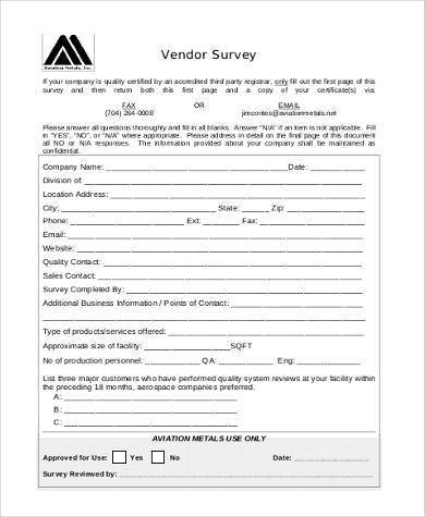 vendor survey form in pdf