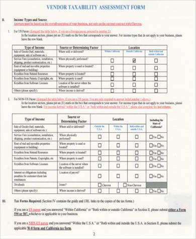 vendor taxability assessment form