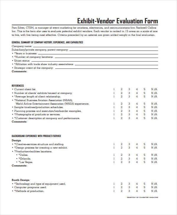 Sample Vendor Evaluation Forms Free Documents In Word Pdf