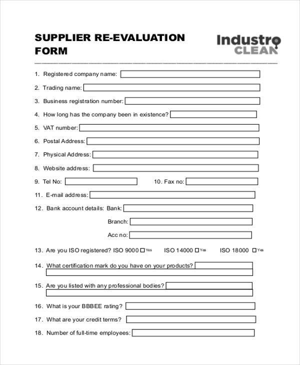 Vendor Evaluation Form Samples  Free Sample Example Format Download
