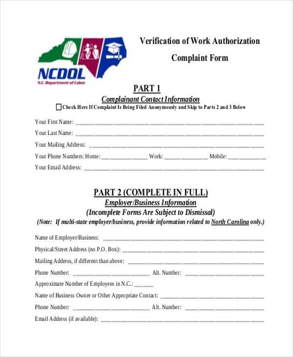 verification of work authorization complaint form