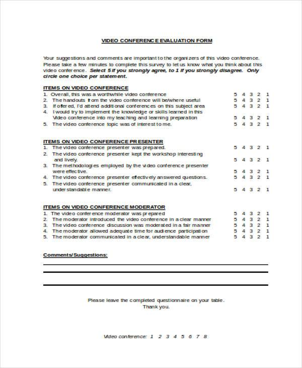 Conference Evaluation Form Samples  Free Sample Example