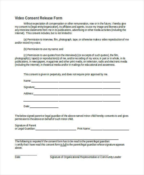 8 Video Consent Form Samples Free Sample Example