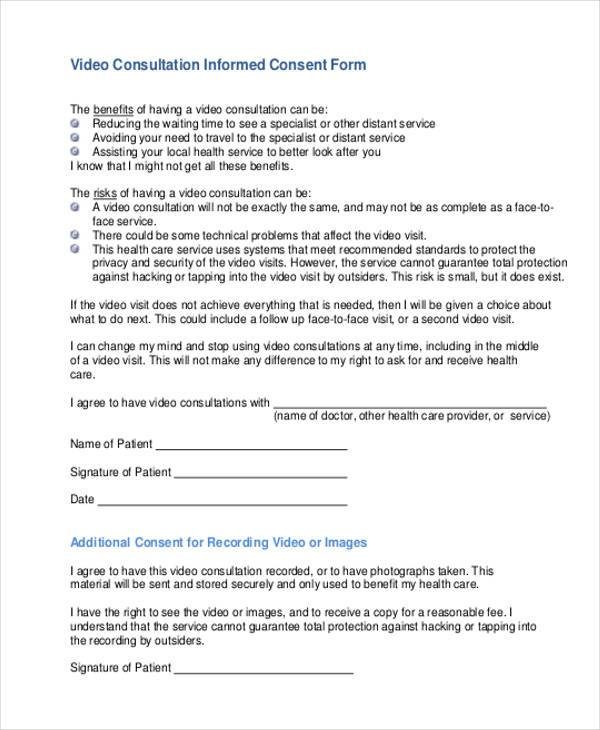 video consultation consent form