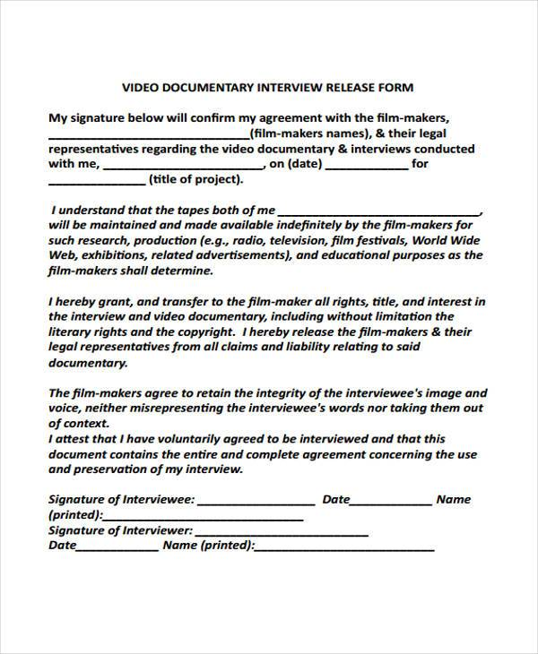 9 Interview Release Form Samples Free Sample Example Format – Interview Release Form
