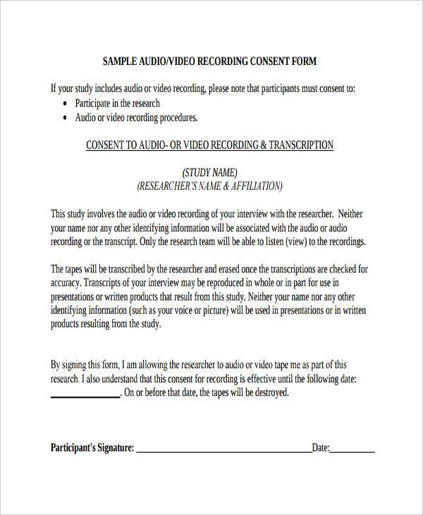 Interview Consent Form Samples  Free Sample Example Format Download