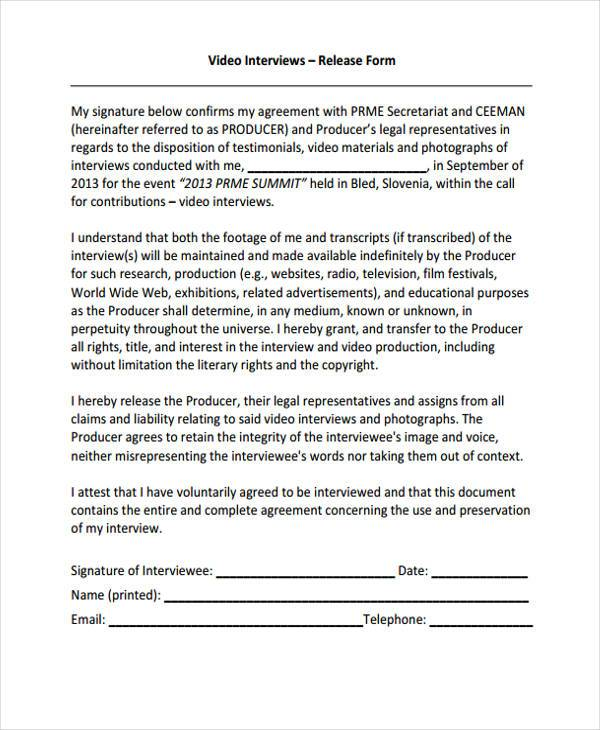 Interview Release Form Samples  Free Sample Example Format