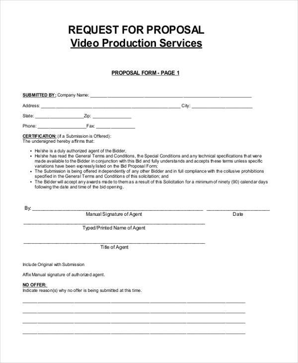 Video Proposal Form Samples  Free Sample Example Format Download