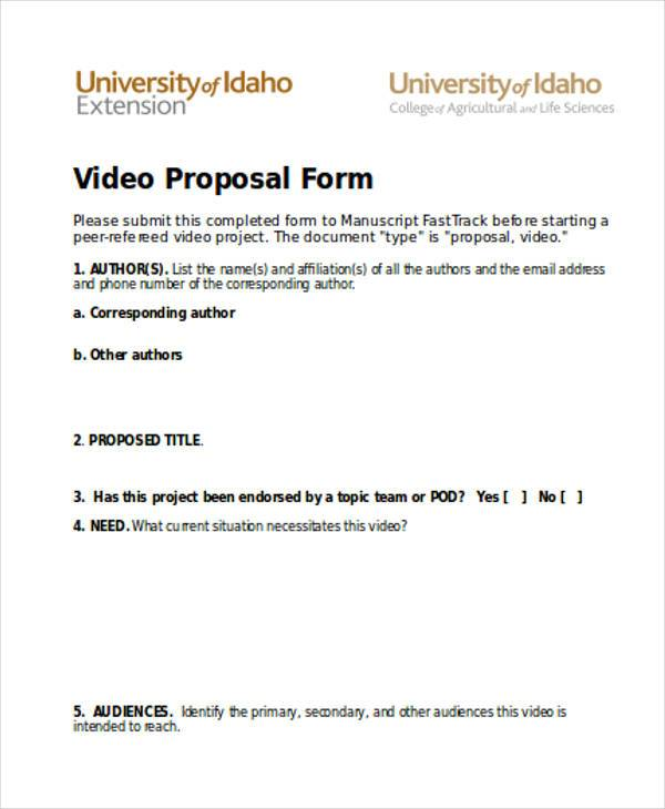 video proposal form example