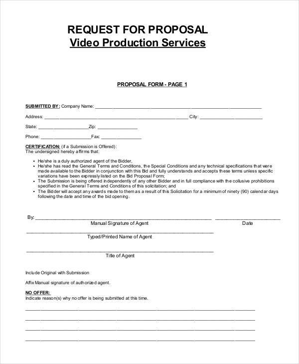 video services proposal form