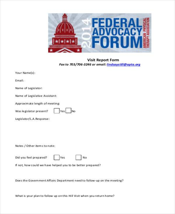 visit report form in pdf