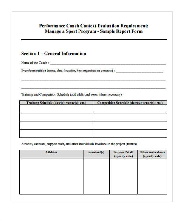 Volleyball Evaluation Form Samples  Free Sample Example