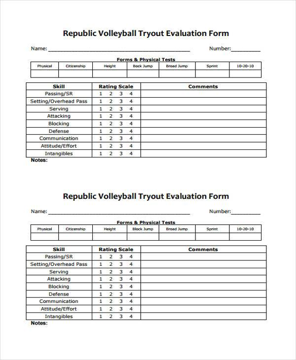 volleyball evaluation form example