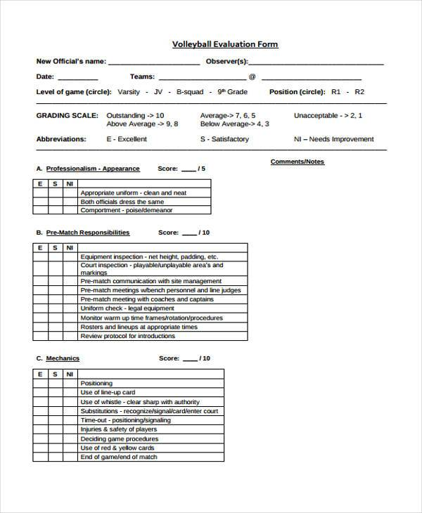 volleyball official evaluation forms