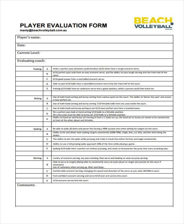 volleyball player evaluation form