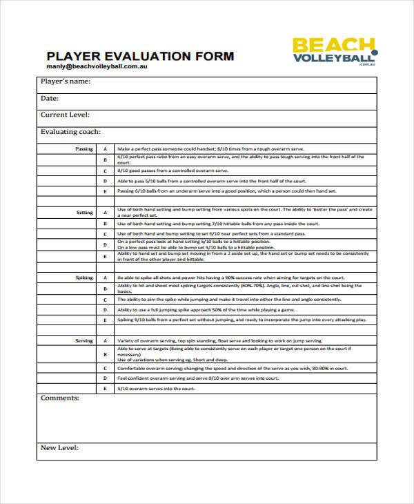 volleyball player evaluation form1
