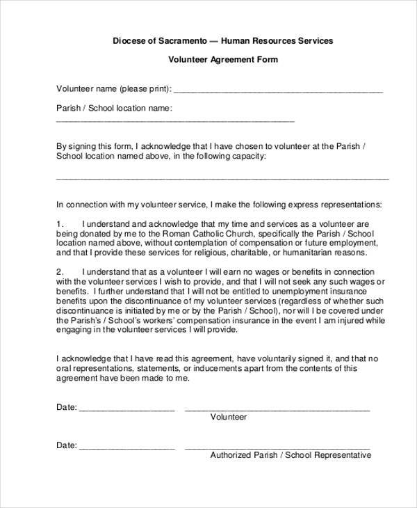volunteer agreement form example