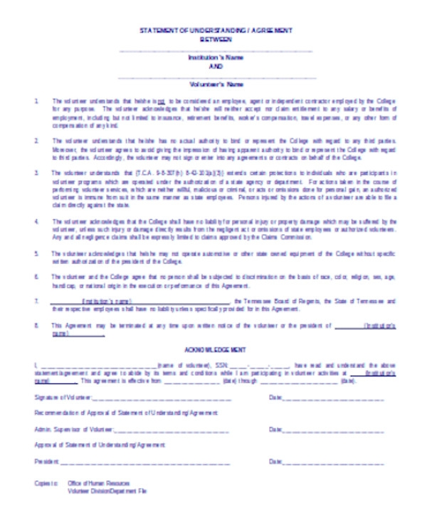 volunteer agreement sample