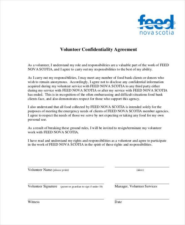 Sample Volunteer Agreement Forms 9 Free Documents in PDF – Personal Confidentiality Agreement