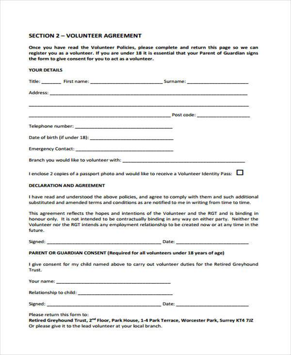 volunteer policy agreement form