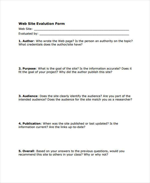 Sample Website Evaluation Forms   Free Documents In Word Pdf