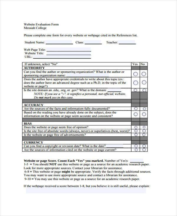 Sample Website Evaluation Forms - 8+ Free Documents In Word, Pdf