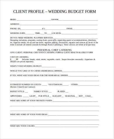 wedding budget form in doc