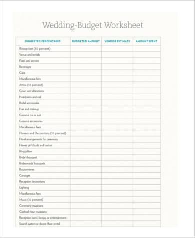 wedding budget worksheet form