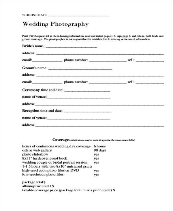 wedding photography release form