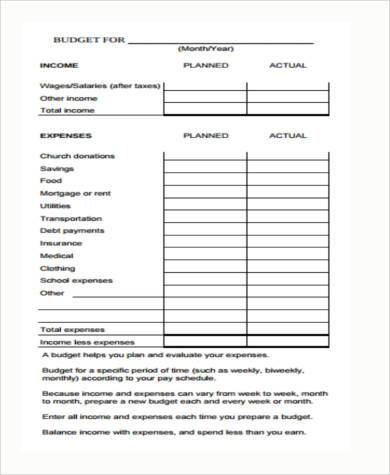 weekly budget form in pdf